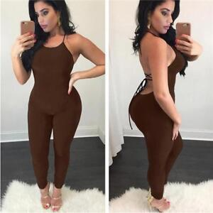 Backless Pantaloni Bodycon nero Chic donna da Sexy da Tuta donna Pagliaccetto Halter Clubwear 0FxIw