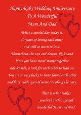 Mum and Dad ruby wedding anniversary card