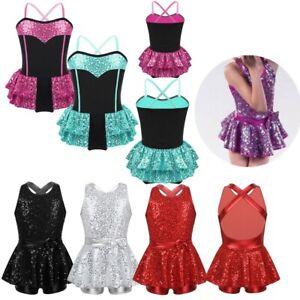 Girl-Glitter-Modern-Tap-Jazz-Dance-Dress-Sequin-Ballet-Dancewear-Leotard-Costume