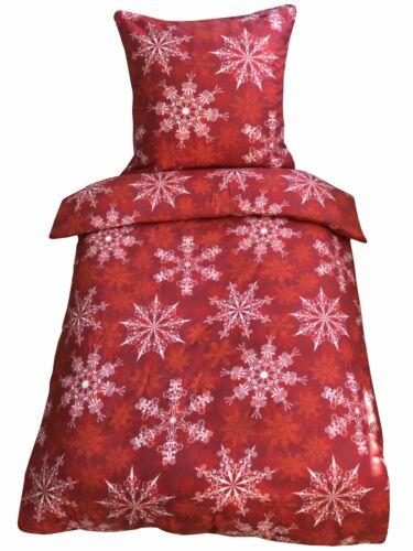 Thermofleece Bettwäsche 155x220 cm rot weiß Kristalle warm flausch Schlafzimmer