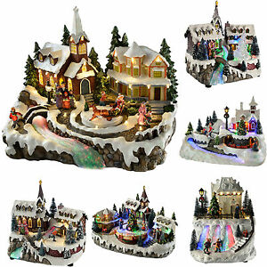 pre lit led fibre opticmusical animated christmas village - Animated Christmas Village
