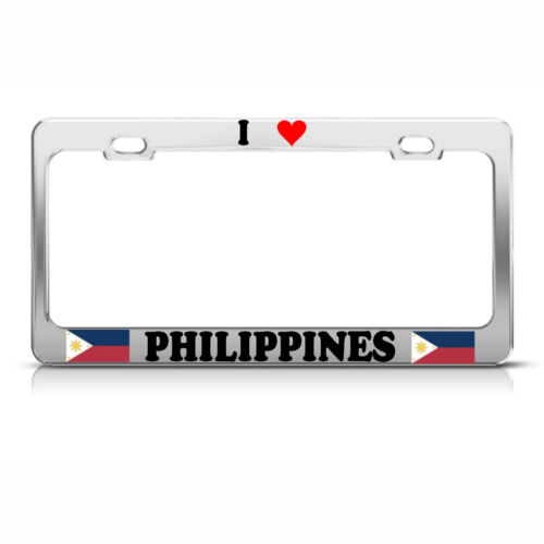 I LOVE HEART PHILIPPINES Chrome Steel Heavy Duty Metal License Plate Frame Tag