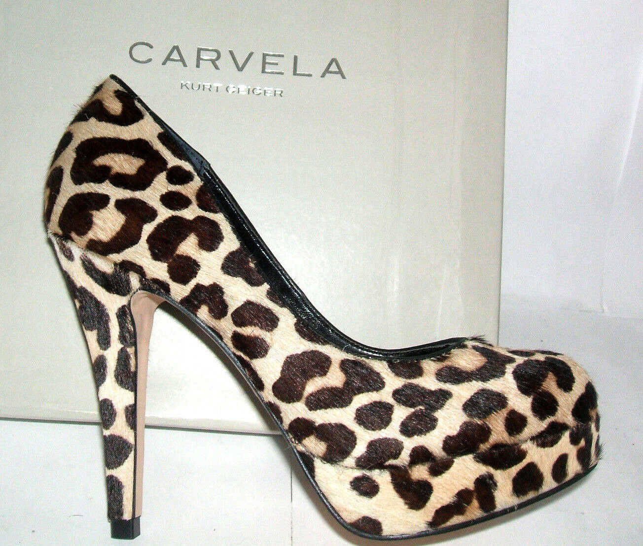£130 BNWB CARVELA KG SIZE 3 36 AMELIA LEOPARD PRINT PONY FUR  HIGH COURT SHOES