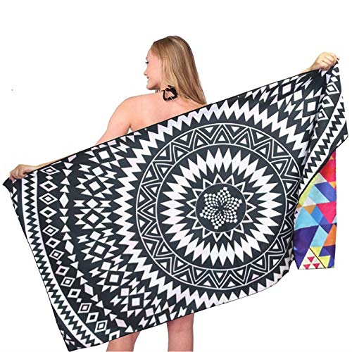 Swimming/& Camping Microfibre Beach Towel Large Yoga Travel Bright Color Sand-Free Towel Soft Absorbent Blanket Mat for Beach Sports Quick Dry Travel Towel with Towel Clips Pegs /& Travel Pouch