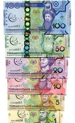 TURKMENISTAN 1 5 10 20 50 100 MANAT 2017 P-NEW UNC COMMEMORATIVE FULL SET 6 PCS