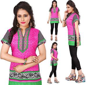 Women Fashion Indian Short Kurti Tunic Kurta Top Shirt Dress Rayon Navy Blue
