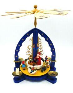 Erzgebirgische-Volkskunst-Richard-Glasser-Blue-Santa-Pyramid-With-Revolving-Toys