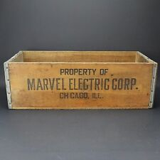 Antique Vintage MARVEL ELECTRIC CORP. Chicago ILL. Wooden Crate Primitive Rustic