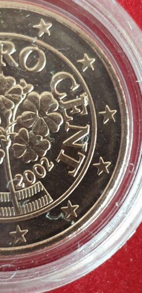 DéLicieux Rare Fautee - Artefact 5 Cents Euro Autriche 2002 - Surplus De Metal