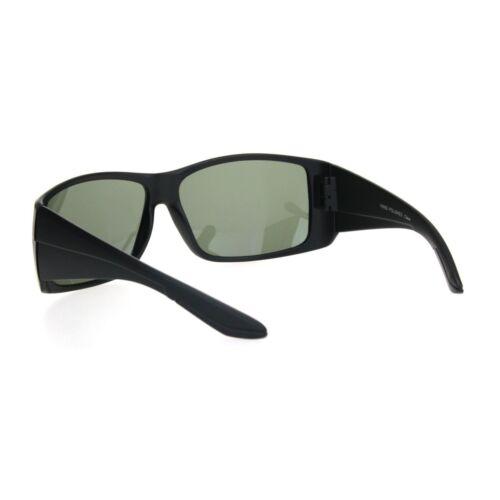 Mens Thick Temple Glass Lens Rectangular Warp Black Cholo Sunglasses