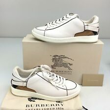 Burberry Pledwick Leather Sneaker Natural Low Top EU 36.5 / 6.5 Check Heel Plaid