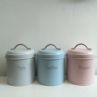 Set of 3 different Colours Enamel Tea Coffee Sugar Tins Kitchen Storage  Canister   eBay