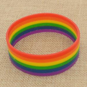 Unisex Orgullo Gay Arco Iris a Rayas Pulsera de Silicona de 1cm de ancho 2 Pack marca nueva