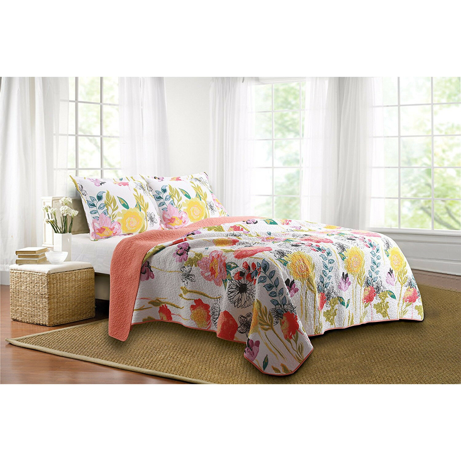 Full Queen Floral Quilt Set 3pc Bed Room Decor Sham Mattress Reversible Cover