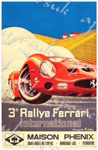 Vintage Ferrari Motor Racing Poster A3 A4 Print Art Posters Art
