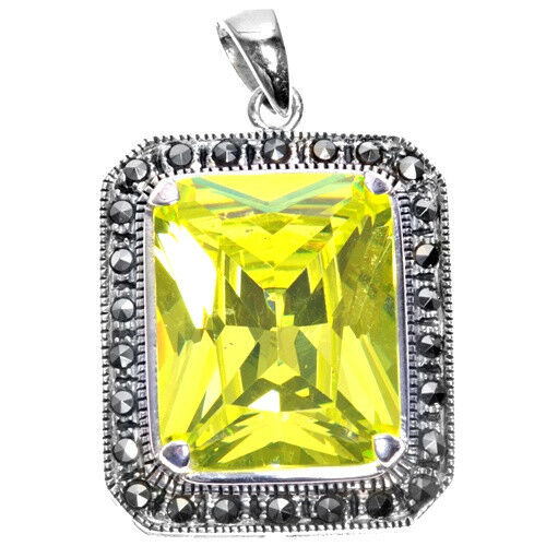 Peridot CZ Pendant with Marcasite Sterling Silver 925 Vintage Style Jewelry 48mm
