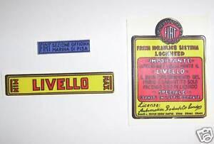 FIAT-BALILLA-3-4-MARCE-508-1100-ADESIVI-POMPA-FRENO-BRAKE-PUMP-STICKERS