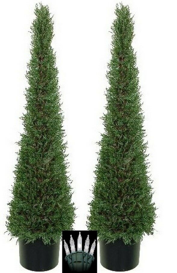 2 Artificial 4' Cypress EverGrün Cone Tower Topiary Christmas Tree with Lights