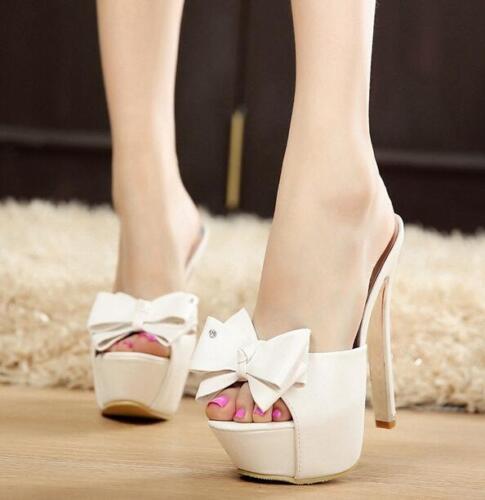 tacón Sexy Sandalia Zapatillas Discoteca Zapatos punta alto la Señoras abierta mujer Bowknot de d4Sqn4