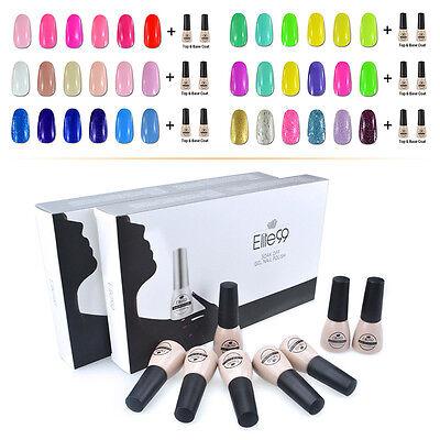 8pcs Elite99 Soak Off UV LED Gel Nail Polish 6 Colors + Base Top Coat Set