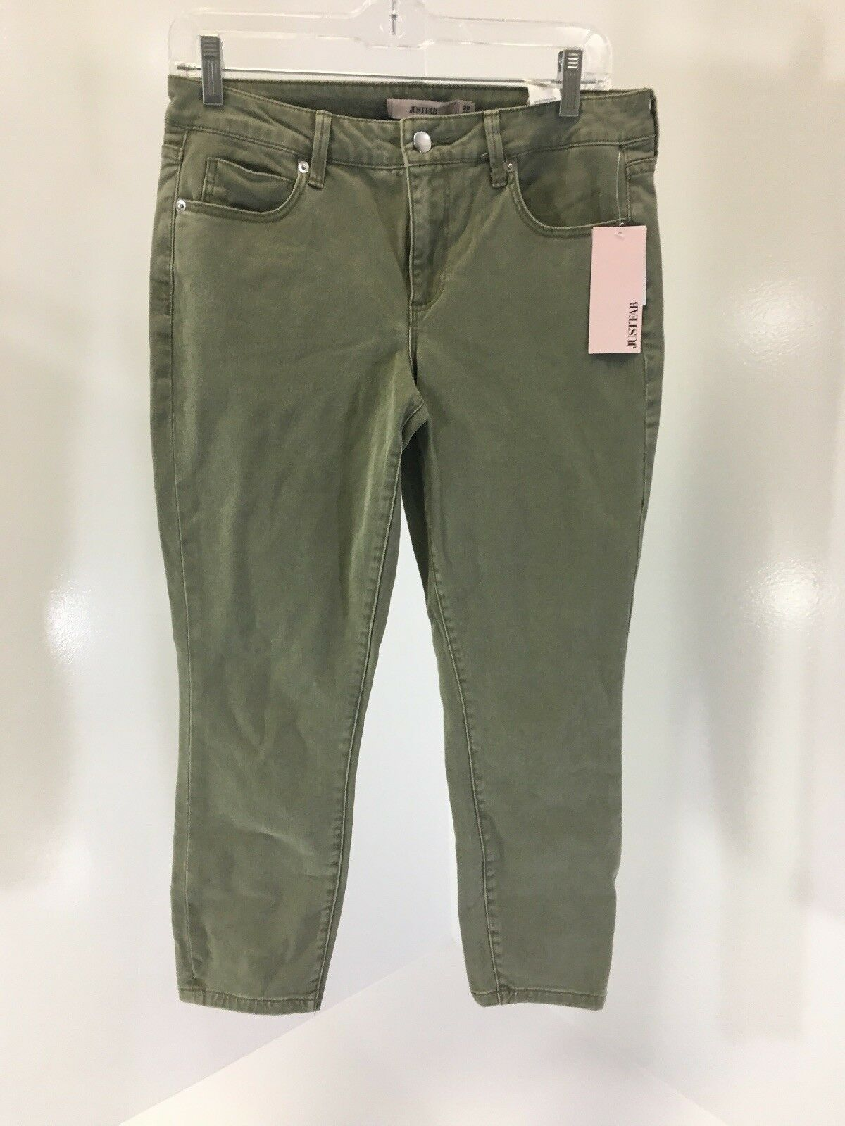 JUSTFAB WOMEN'S COOL CROP JEANS OLIVE SIZE 28 NWT