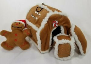 Kyjen-Gingerbread-House-Hide-a-Toy-Puzzle-Plush-dog-Squeaker-toys-Christmas-B3