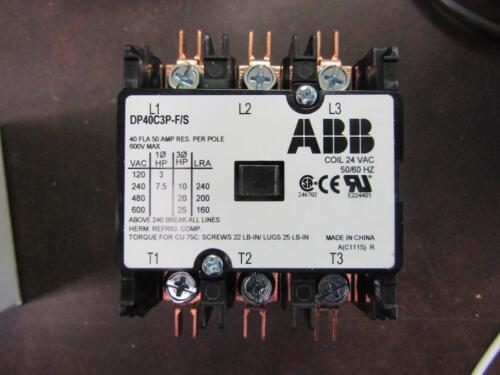 3 Pole 24V Coil Definite Purpose Contactor ABB DP40C3P-F//S 50 Amp