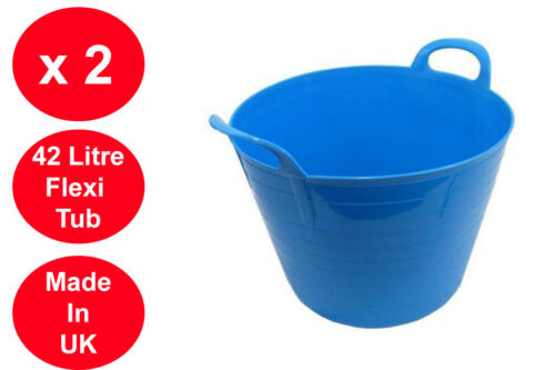 2 X 42 LITRE FLEXI TUB LARGE GARDEN CONTAINER FLEXIBLE STORAGE BUCKET LIGHT BLUE