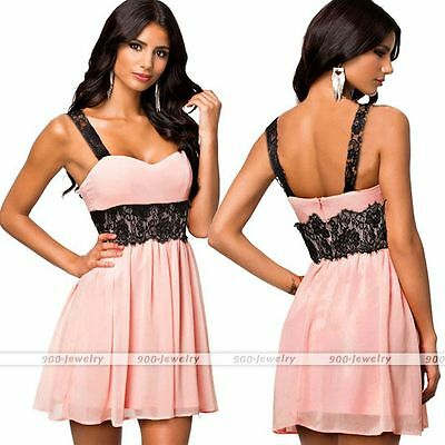 Women Bandage Sleeveless Lace Summer Casual Cocktail Evening Party Mini Dress