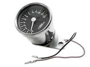 Single-Fire-Electronic-Tach-Mini-Tachometer-48mm-Black-Face-M-M-B-Harley-Motor