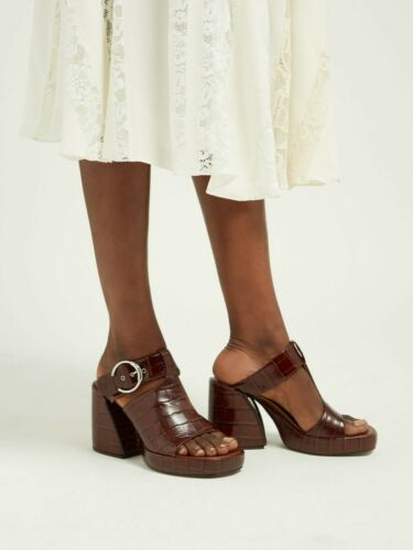 CHLOE Wave Brown Block Heel Mules Clogs 37.5 US 7.