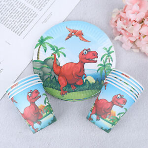 10pcs-Dinosaur-paper-plates-disposable-paper-cups-dishes-birthday-party-decor-gt