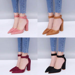 WOMENS-LADIES-BLOCK-HIGH-HEEL-SANDALS-ANKLE-STRAP-CUFF-POINTED-TOE-SHOES-SIZE