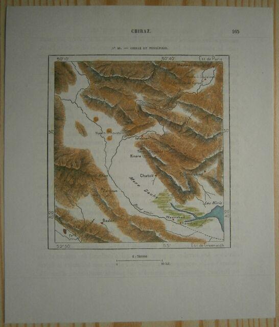 1884 Perron map SHIRAZ AND PERSEPOLIS, IRAN (#40)