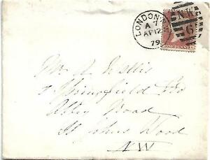 GB QV 1879 COVER PENNY RED PL211 'IA' WITHIN LONDON TO ST.JOHNS WOOD 12TH APRIL