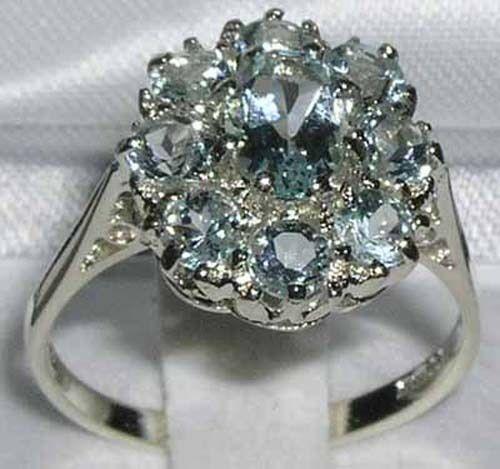 Luxury Ladies Solid 14K White gold Natural Aquamarine Large Cluster Ring