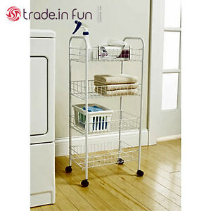 image is loading rolling bathroom cart 4 tier basket organizer rack - Bathroom Cart