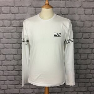 EA7-EMPORIO-ARMANI-MENS-UK-M-WHITE-LONG-SLEEVE-TAPE-T-SHIRT-TEE-DESIGNER-CASUAL