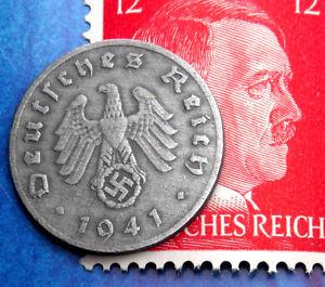 Details about XX-RARE 1941-J WW2 NAZI Germany 1 Reichspfennig SWASTIKA Coin  w/ Hitler Stamp