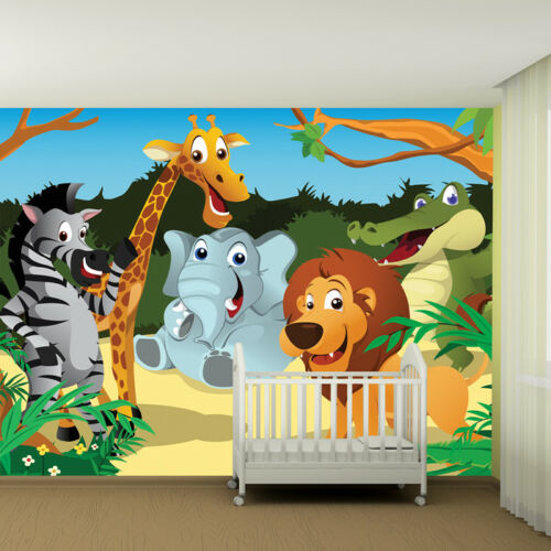 Safari Animals Wall Mural Jungle Photo Wallpaper Kids Bedroom Nursey Home Decor