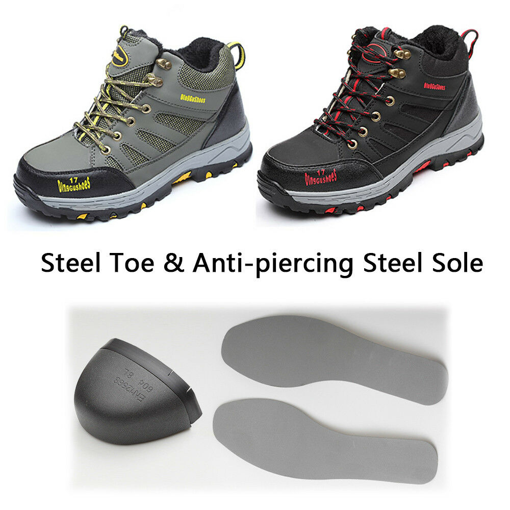 Men Safety Working Boots Warm Work shoes with Steel Toecap Midsole Lace Up