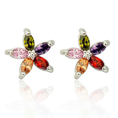 Five-Star Colorful Sapphire Women's 10KT White Gold Filled Stud Earrings Jewelry