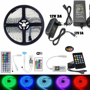 5050-SMD-RGB-Flexible-LED-Strip-Lights-Bluetooth-WiFi-Remote-12V-Power-Supply