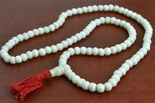 108 PCS WHITE TIBETAN BUDDHIST BONE MALA PRAYER BEADS 8MM #T-1822