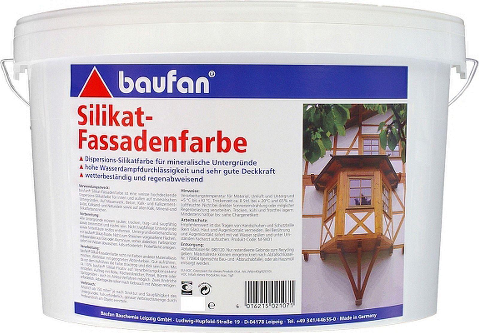 10l baufan Silikat-Fassadenfarbe Dispersions-Silikatfarbe Farbe f. innen & außen