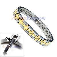 Accents Kingdom Men's Magnetic Power Cross Titanium Golf Bracelet T18
