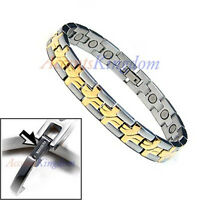 Accents Kingdom Men's Magnetic Power Cross Titanium Golf Bracelet T18