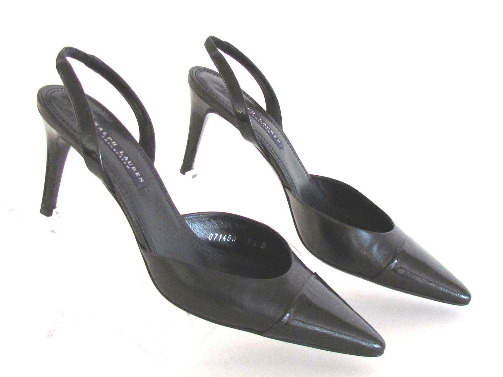 DESIGNER RALPH LAUREN COLLECTION BLACK LEATHER SLINGBACK PUMPS SIZE-8.5 SIZE-8.5 SIZE-8.5 MED 4938da