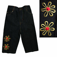 Infant Baby Girls Toddler Denim Cotton Woven Jeans With Red Gold Flowers 12m-3t