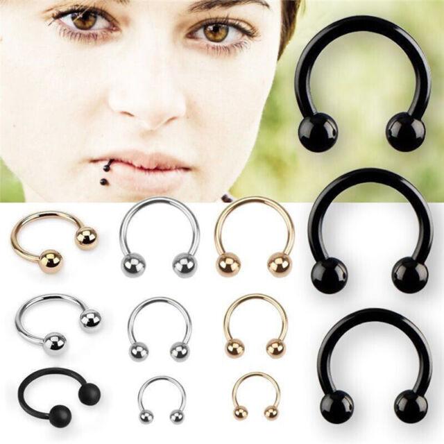 10PCS Stainless Steel Horseshoe Bar Lip Nose Septum Ear Ring Stud Piercing Set.